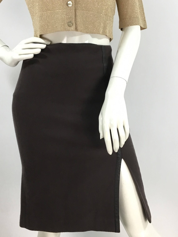 90s Club Monaco skirt/1990s wool stretch skirt/Clu