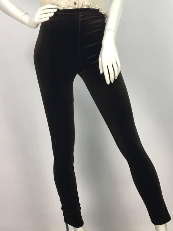 80s 90s stretch velvet pants/brown velvet pants