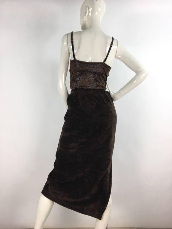 Vintage fleece midi skirt/brown midi skirt/warm v… - image 9