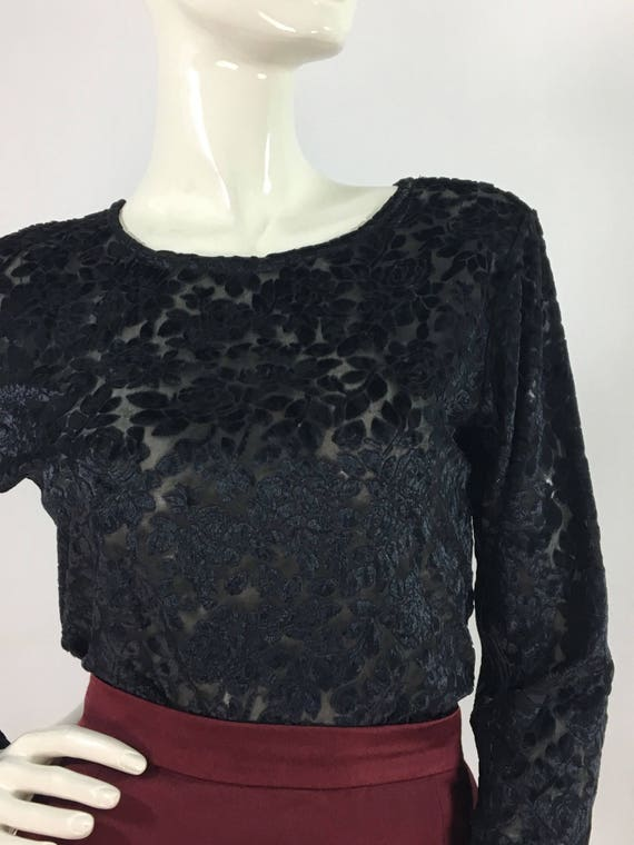 90s black floral sheer top/1990s polyester top/she