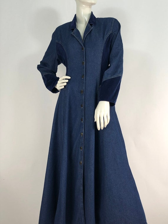 1980s denim dress/80s jean dress