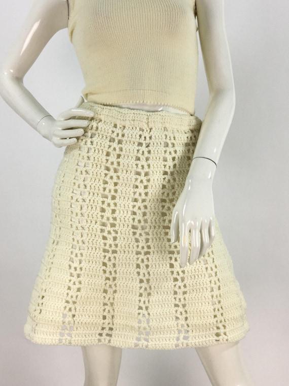 1950s cream crochet skirt/50s crochet skirt/off wh