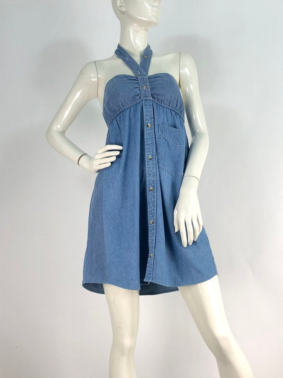 90s denim dress/vintage denim/vintage jean dress - image 1
