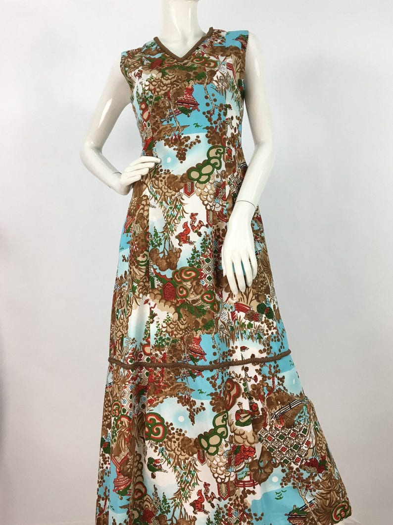 7cdbe8a16fb 1960s chinoiserie maxi dress vintage Art Deco maxi 60s maxi