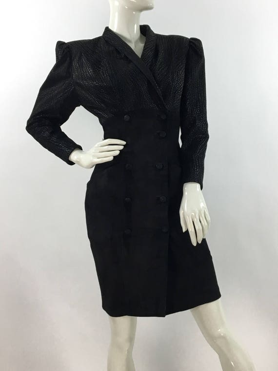 1980s genuine leather dress/80s black leather dres