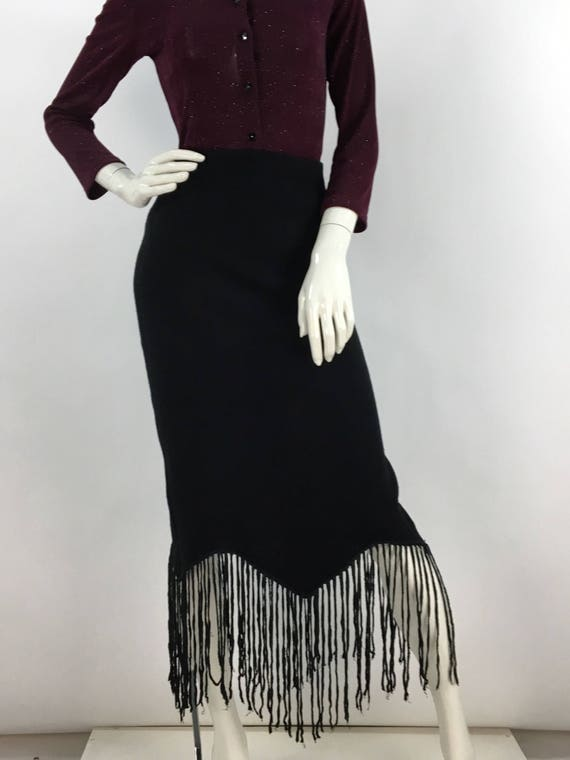 Black midi skirt/90s midi skirt/black tassel midi