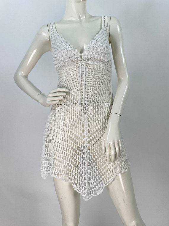Vintage crochet dress/sexy crochet dress/vintage c