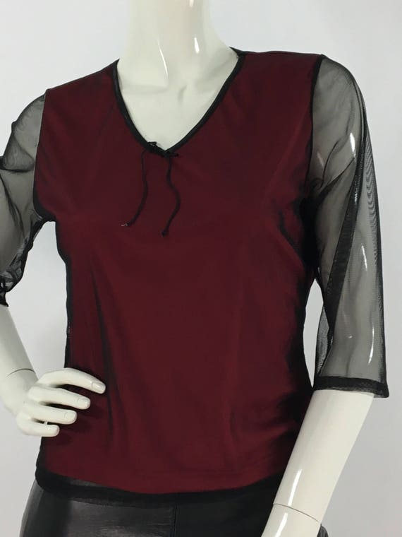 90s vintage sheer blouse/sheer mesh top/1990s blac