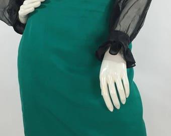 1980s Louben green skirt, vintage skirt