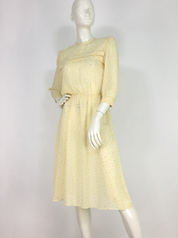 70s midi dress/yellow midi dress