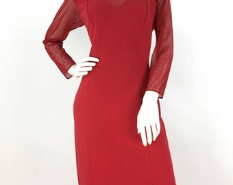 Prom dress/80s 90s red sheer maxi/formal evening wear