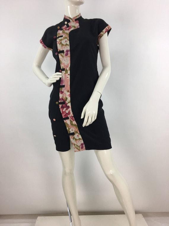 1980s kimono, 80s black and floral kimono midi