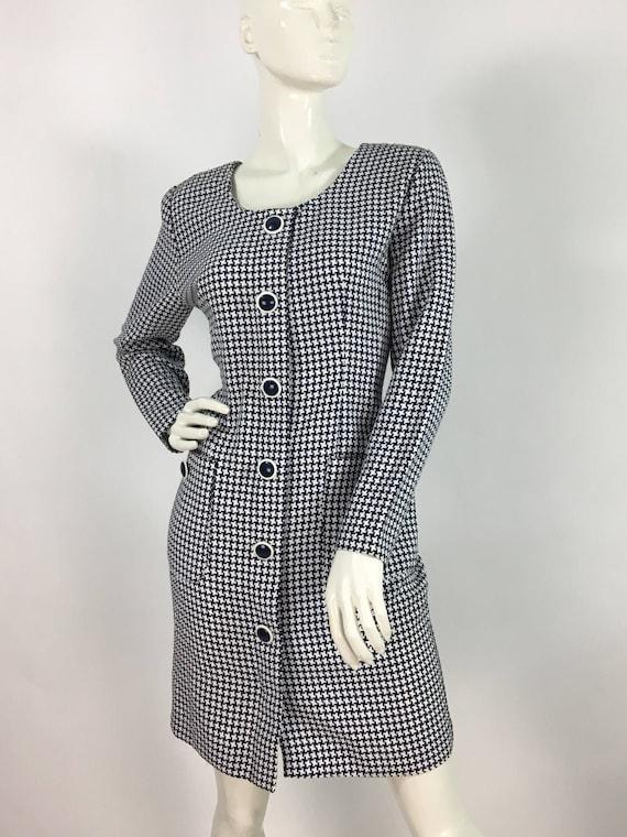 80s Algo dress/houndstooth plaid dress