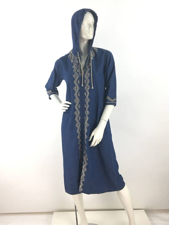 80s hooded jean dress with asian inspired design