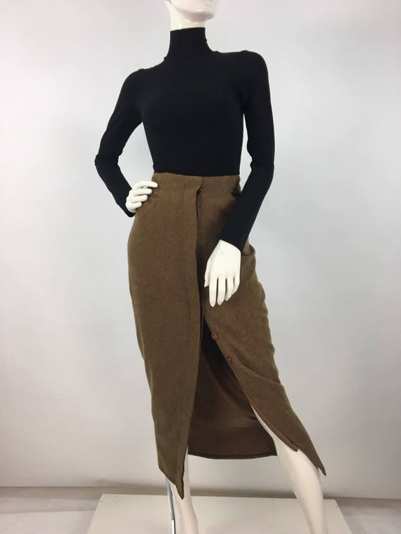 60s wool skirt, 1960s front button wool skirt