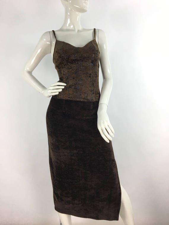 Vintage fleece midi skirt/brown midi skirt/warm v… - image 3