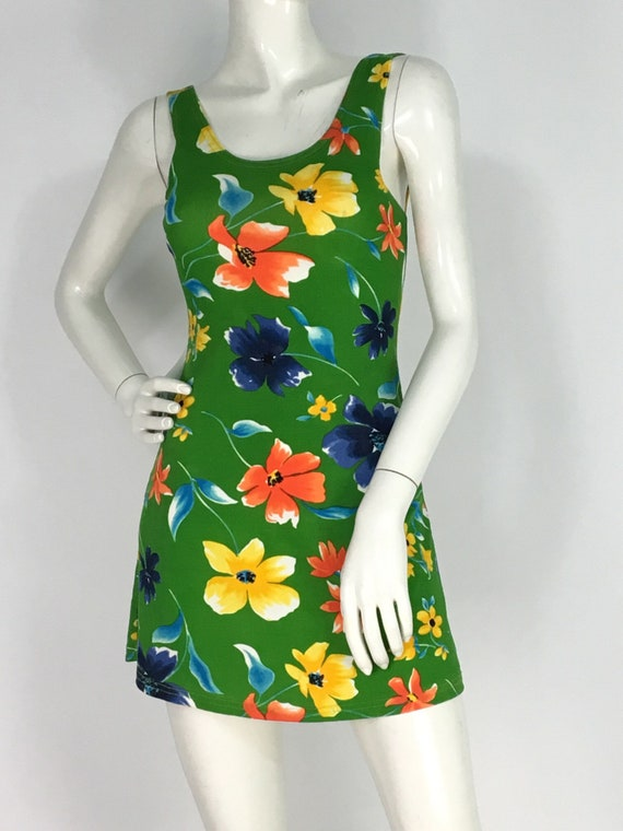 90s beach dress/1990s floral beach dress