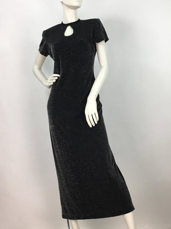 Vintage Lori Ann maxi/black metallic shimmer maxi