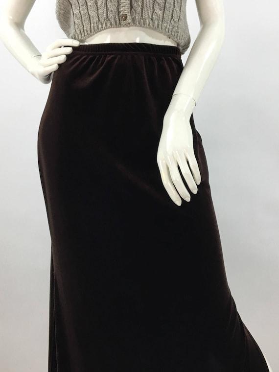 90s brown crushed velvet maxi, sexy crushed velvet