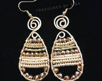 Wire Framed Beaded Earrings, Beaded Wire Earrings, Jewelry, Women Earrings