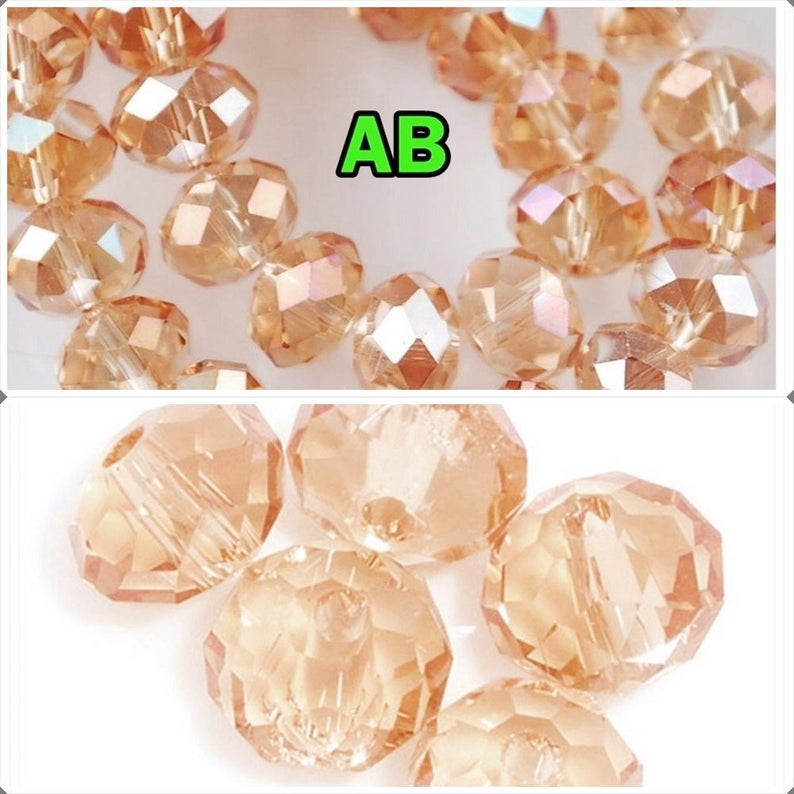 50 Piece Champagne AB Crystal Glass Faceted Beads Jewelry Making Rondelle 4-8mm