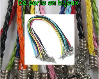 COLOR choices: 45 cm - 50cm braided leather cord necklace more 1.5 mm extension chain