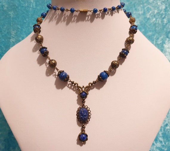 Antique Czech Deco Snake Mesh Peking Glass Intaglio Bracelet 7 /& Earrings  Set