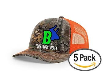 5 Realtree Camo Custom Embroidered Richardson - Snapback - Free Logo Setup  - Pack of 5 093ea15460df
