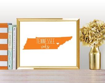 "University of Tennessee Vols Print DIGITAL DOWNLOAD 8 x 10"" Graduation Gift"