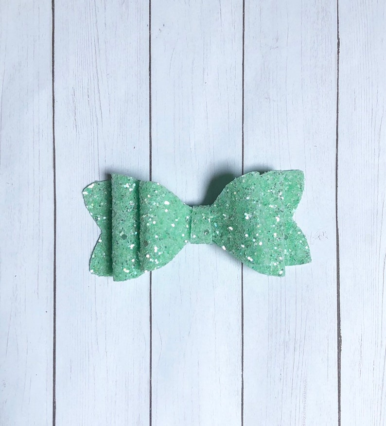 neon green hair bow summer hair bow, neon pink hair bow Girl headband stacked large sequin hair bow Large faux leather glitter hair bow