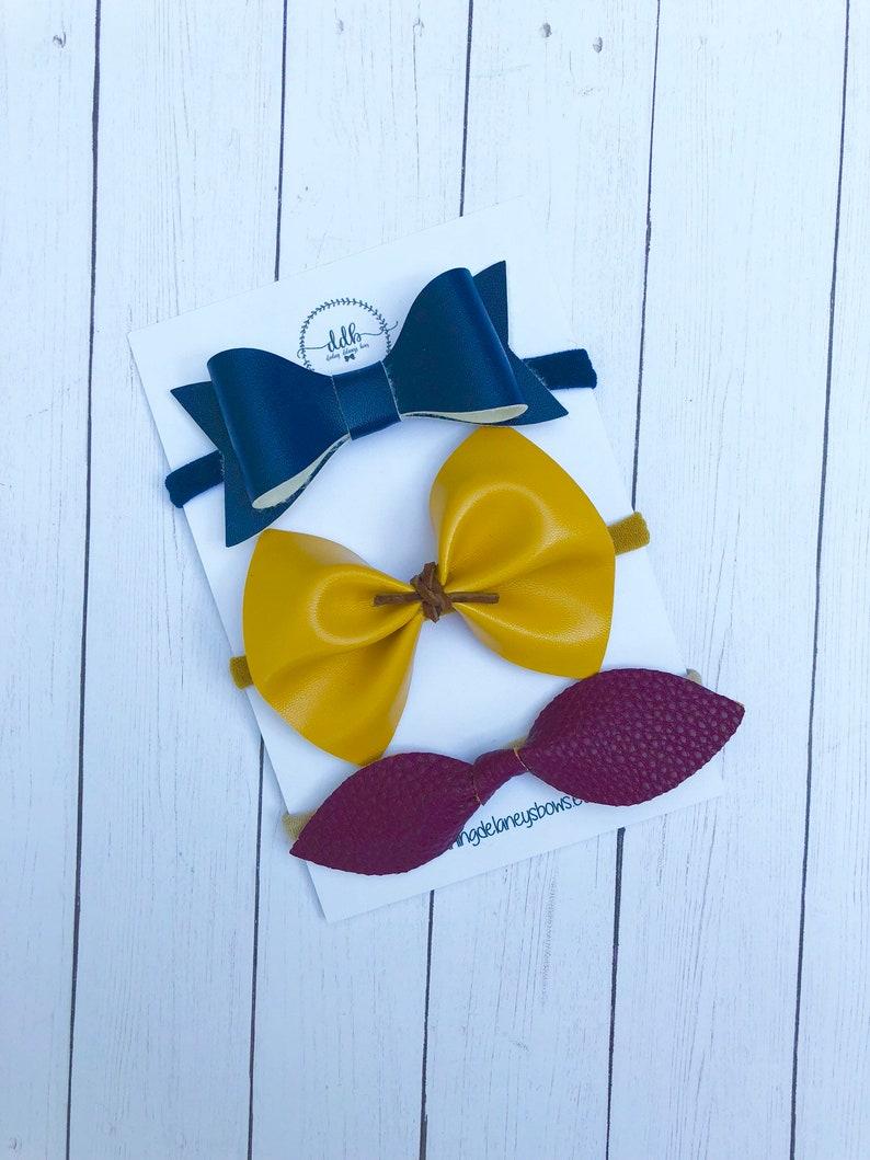 baby headbands baby hair bows Fall faux Leather hair bows navy hair bows toddler hair clips yellow hair bows leather knot hair bow