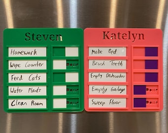 Chore Chart/Task Board/Honey Do List with Dry Erase and Magnets 3D Printed | Multiple Colors | Child Name | Dry Erase | Magnetic Task Board