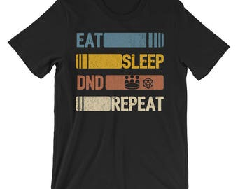 c90614b6 Eat Sleep DND Repeat Funny Vintage Retro Roleplaying Gift unisex t-shirt