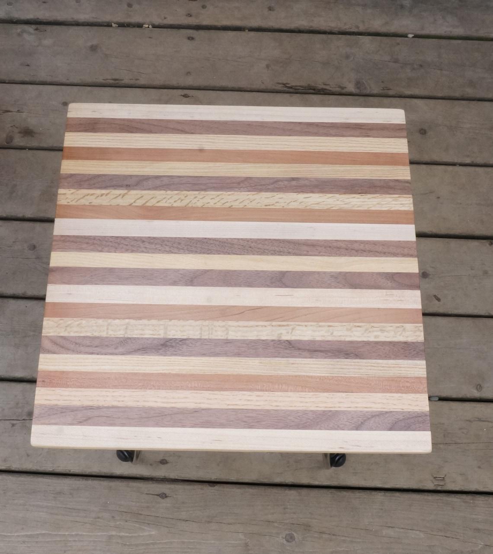 Striped reclaimed wood end table with hair pin legs, rustic farmhouse decor, maple, walnut, oak, cherry table