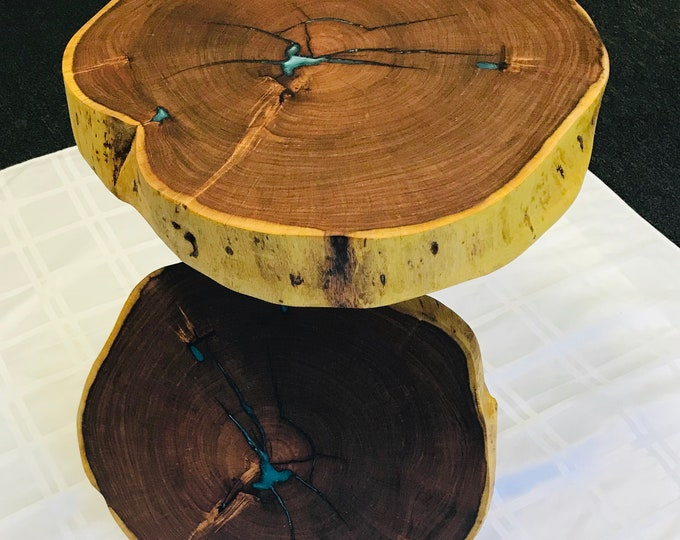 Mesquite with resin fill end tables.