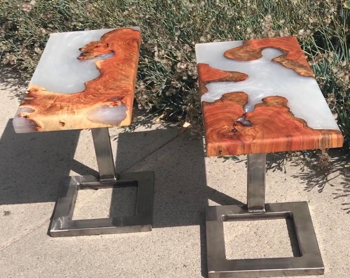 Custom Carob end tables with pearl white resin.