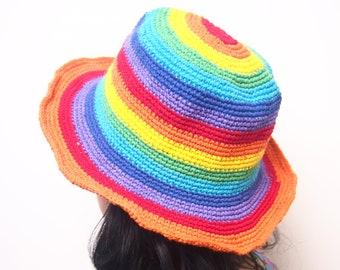 2657c1338f1 Rainbow stripes Crochet Hand made bucket hat