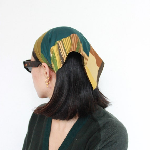 Vintage Khaki Brown Stripes Print Headscarf Bandan
