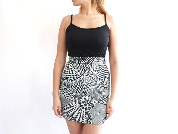 vintage 90s versace abstract monochrome skirt