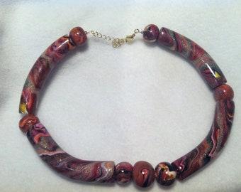 Tube Bead Choker Necklace Multi Color Swirl