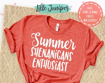 Summer Shenanigans Enthusiast svg, Summer Shirt svg, Kids Shirt SVG, Cute Mom Shirt svg, Vacation svg, Commercial Use, Digital File