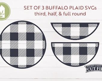 SVG Bundle, Round Buffalo Plaid SVG, Set of 3, Farmhouse svg, Rustic svg, Cut Files, Commercial Use, Digital Cut Files