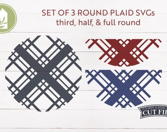 SVG Bundle, Round Plaid SVG, Set of 3, Farmhouse svg, Rustic svg, Cut Files, Commercial Use, Digital Cut Files