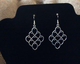Handcrafted Large/Long Chandelier Style Pierced Earrings in Silver Tone