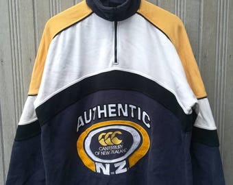 Rare!! Vintage Canterbury New Zealand Sweatshirt Big Logo Half Zipper Size L