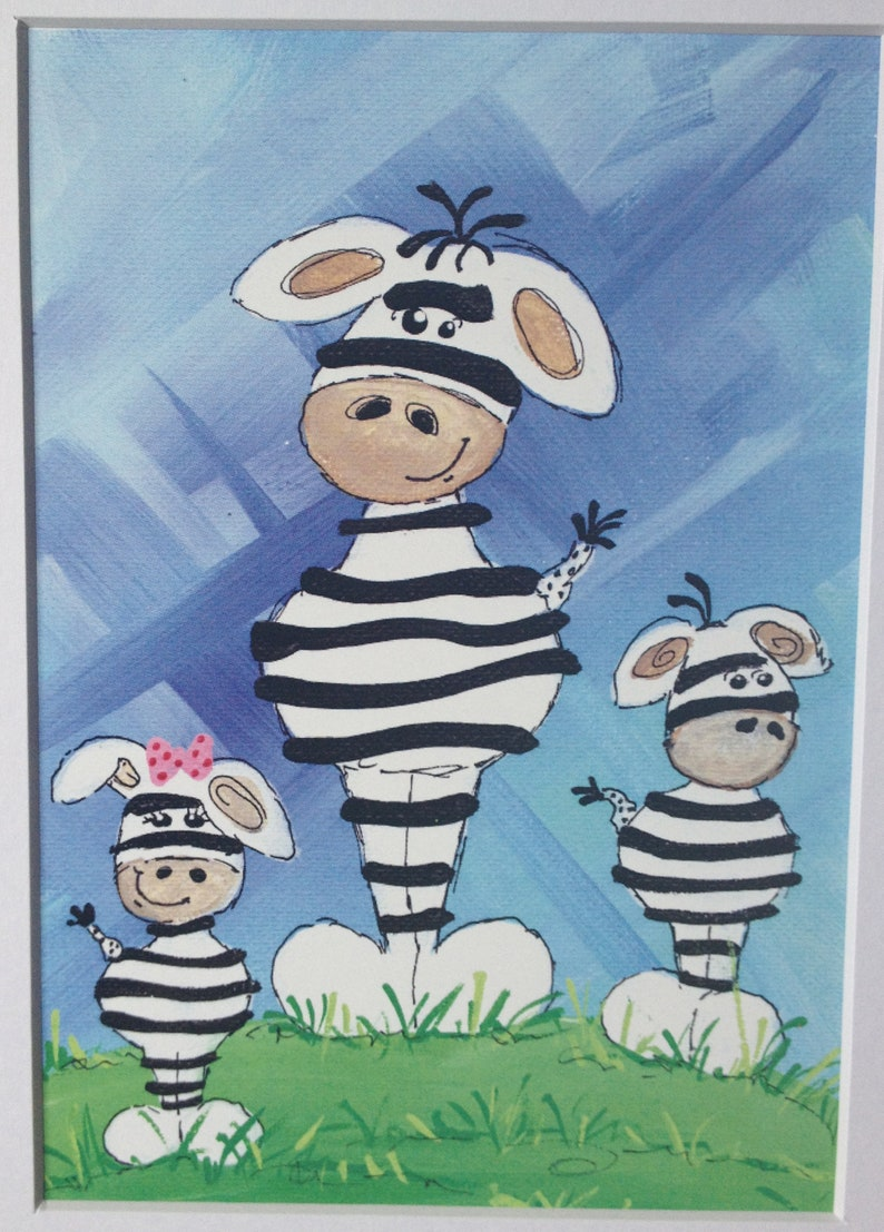 Cute Zebras are Cool  Art Print  8x10 with white matte image 0