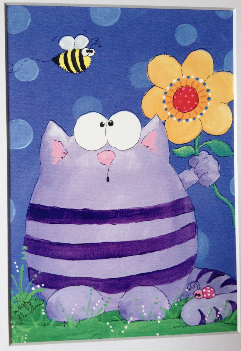 Ooh Fuzzy  Cat and Bee  Art Print  8x10 with white matte image 0