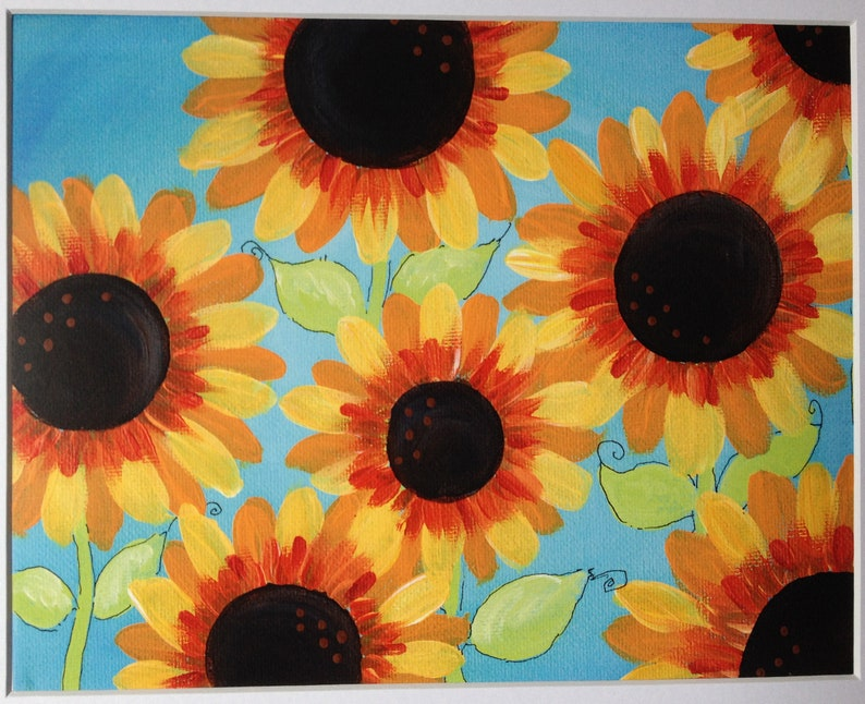 Happy Sunflowers  Art Print  11x14 OR 8x10 with white matte image 0