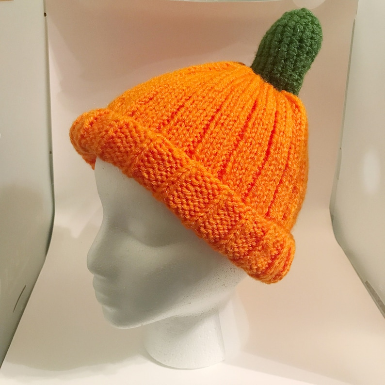 Hand Knit Pumpkin Hat  Fall/Winter/Harvest image 0