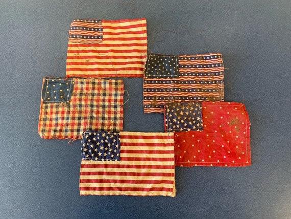 Primitive Handmade Grungy Red White Blue Flag Americana Bag